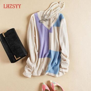 2016 NEW Autumn&Winter Cashmere Sweater Women Patchwork Pullovers V-Neck Knitted Soft Warm Cashmere Pullover Female Fashion