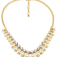 Pearl and Rhinestone Layer Necklace