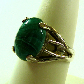Ring Green Malachite Sterling Silver Polished Stone Handcrafted Vivid Color Ladies Vintage Jewelry Healing Gemstone Gift