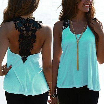 Summer Women Casual Tank Tops Fashion Ladies Sexy Backless Lace Hollow Vest Tops Sleeveless Shirt Blouse Blusas New