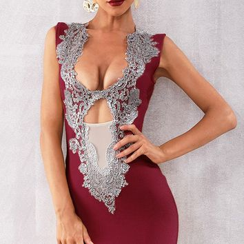 Night Of Passion Burgundy Sleeveless Sequin Plunge V Neck Sheer Mesh Cut Out Bodycon Bandage Mini Dress - 6 Colors Available