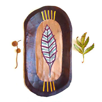 Feather Wood Tray. Hand Painted Wood Plate. Rustic Home. Unique Housewarming Gift. Boho Decor.
