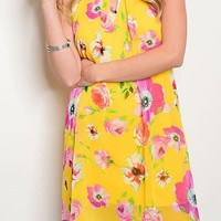 Yellow floral dress from PeaceLove&Jewels