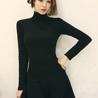 Black Turtleneck Long Sleeve Mini Skater Dress