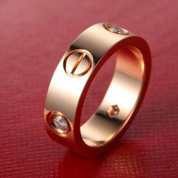 """Cartier"" Fashion Personality Women Men Rings Women Men Ring Rhinestone Lovers Ring Rn I"