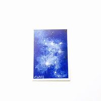 Space Painting ACEO, Blue Starry Nebula ATC, Original Artwork, Starry Sky