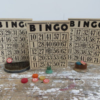 Bingo Cards Industrial Decor Numbers Black and White Bingo Card