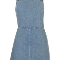 MOTO Vintage Wash Pinafore Dress - Mid Stone