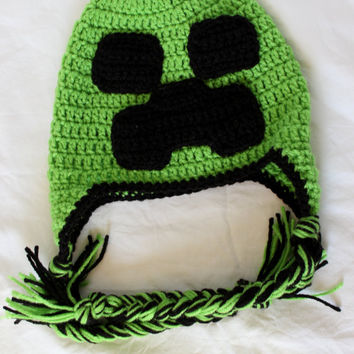 Crochet Minecraft Earflap Hat - Size Child