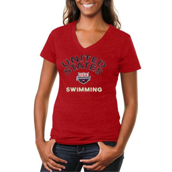 USA Swimming Heritage Ladies V-Neck Tri-Blend T-Shirt - Red