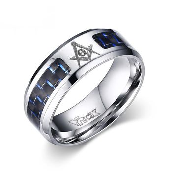 Cool Men Masonic Rings Stainless Steel Wedding Rings for Men Jewelry