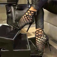HiHopGirls 2017 Gladiator Roman Sandals Summer Rivet Studded Cut Out Caged Ankle Boots Stiletto High Heel Women Sexy Shoes Boot