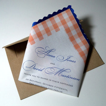 Handkerchief wedding invitation gingham - set of 10