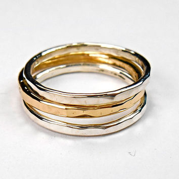 Stacking Rings - Sterling Silver and Gold Filled Trio, Posie rings, Hand Hammered Mixed Metal Rings, Set of 3 bands