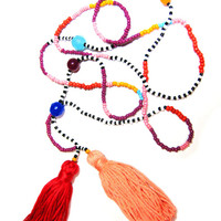 Long Beaded Double Tassel Necklace - Seed Bead Necklace - Beaded Necklace - Fun Necklace - Hippie Necklace