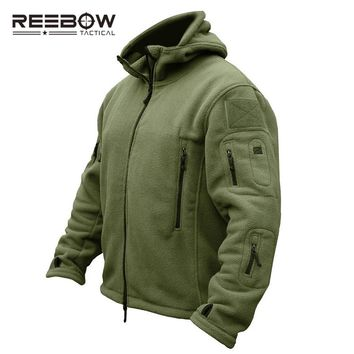 REEBOW TACTICAL Men Outdoor Hiking Winter Fleece Hooded Jacket Thermal Breathable US Army Military Outwears Camping Airsoft