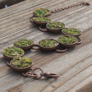 Moss Bracelet, Eco Friendly, Terrarium Jewelry, Living Plant Jewelry, Earth Day, Garden Gift, Terrarium