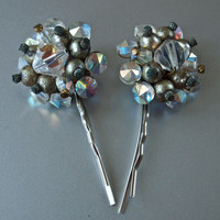 Pair of Vintage Prismatic Cut Glass Beads Antique Gold Pearls Cluster Hair Pins 2 Pieces