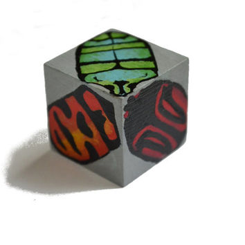 Beetle wooden art cube, colourful bug block, hand painted wood cube, insect art