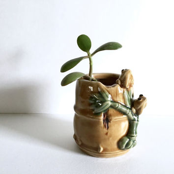 free form pottery vase. garden pottery. frogs bamboo art. mid century studio art. succulent ceramic planter. glazed pottery. asian pottery
