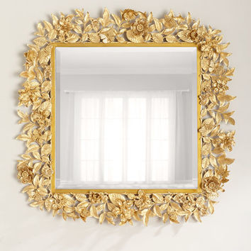 Jay Strongwater Composition Floral Leaf Mirror, 42Sq.