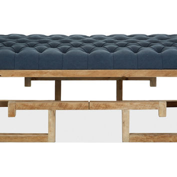 Lila Linen Cocktail Ottoman, Denim Blue, Ottomans