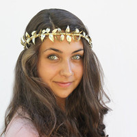 Gold Leaf Vine Crown - New Year's Eve Tiara, Gold Leaves, Goddess, Greek, German Wedding Crown, Leaf Tiara, Halo, Leaf Hair Wreath