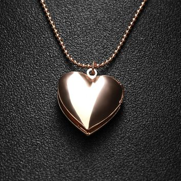 Rose Gold Heart Shaped Locket Pendant Necklace