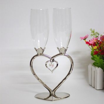Heart shape crystal wedding toasting flutes