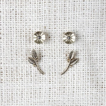 Deco Flower and Branch Earrings