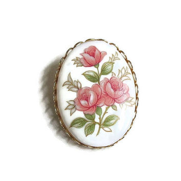 Hand Painted Floral Cameo Brooch Vintage Porcelain Roses