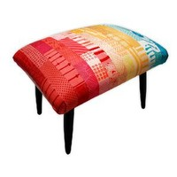 Zoe Murphy Patchwork Silk Footstool - Seating: Stool - Modenus Catalog