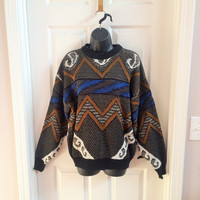 Vintage 1980s Mens Sweater, Slouchy Sweater, Abstract Sweater, Ski Sweater Medium