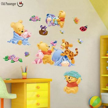 Old Passenger _ Winnie the Pooh cartoon removable wall stickers children room bedroom living room decorative painting nursery