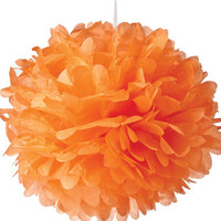 Large Orange Tissue Paper Pom Pom Pouf