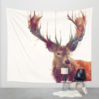 Red Deer // Stag Wall Tapestry by Amy Hamilton