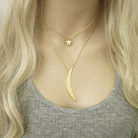 Gold Star Necklace / Star Choker / Galaxy Astronomy Jewelry / Simple Everyday Jewelry / Long Gold Necklace / N291