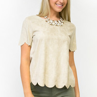 Verona Scalloped Suede Top