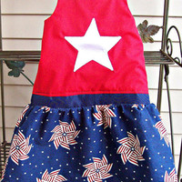 Baby Girl Red White and Blue Halter Dress Size 10 - 12 months Toddler Memorial Day 4th of July