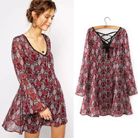 2015 spring summer autumn new Korean Women casual Bohemian floral brand long sleeve Loose printed two-piece dress chiffon dress