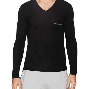 Emporio Armani Underwear Men's Long Sleeve V-Neck T-Shirt - Black -