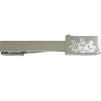 Pennsylvania State Map Shape and Flag Design Square Tie Clip
