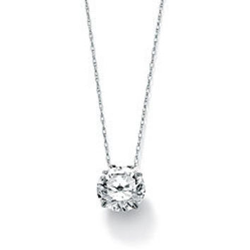 Ultimate CZ 10k White Gold Cubic Zirconia Solitaire Necklace | Overstock.com