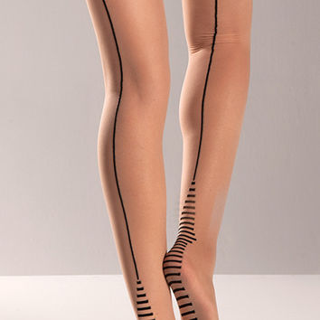 Nude Cuban Heel Thigh High