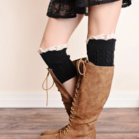 Vintage Lace Trim Cable Knit Boot Cuffs Black Ankle Boot Socks