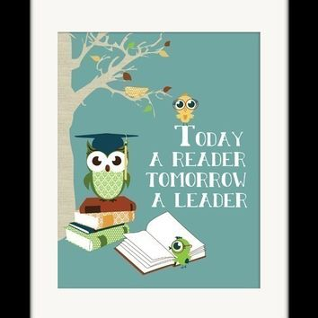 "Reading Books Owl Art Print, Owls Reading Wall Decor, Owl Art, Kids Reading Books ""Today a Reader, Tomorrow a Leader"""