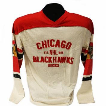 Chicago Blackhawks L/S Applique Crew White With Red