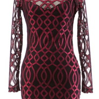 Spiced Cider Dress   Red Black Crochet Lace Long-Sleeve Dresses   Rickety Rack