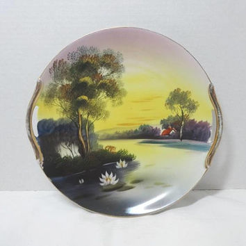 1918-1940 Antique Noritake Scenery Hand Painted Decorative Plate, Morimura, Gold Trim, Pierced Handles, 9.75 Inch, Vintage Noritake Japan