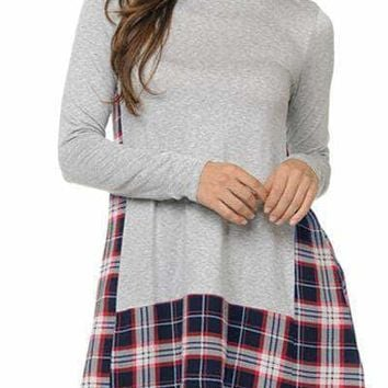 Gray Plaid Patchwork Long Sleeve Tunic Top